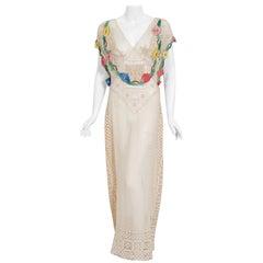 Vintage 1930's Ivory Sheer Mixed-Lace Floral Applique Bias Cut Bridal Gown