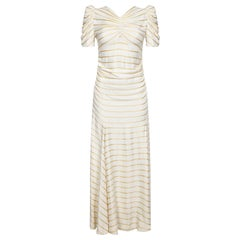 Vintage 1930s Ivory Silk Gown With Sunburst Bodice and Gold Silk Thread Stripes