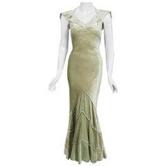 Vintage 1930's Jane Regny Haute Couture Seafoam Green Silk Velvet Bias Cut Gown