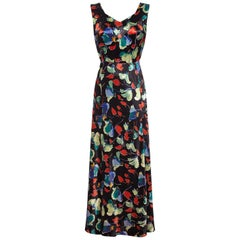 Vintage 1930s Liquid Satin Floral Pattern Bias Cut Dress