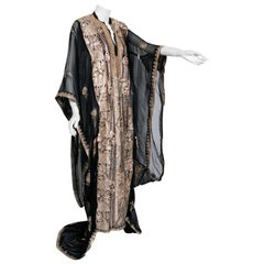 Vintage 1930's Metallic Gold Embroidered Sheer Black Silk-Chiffon Couture Caftan