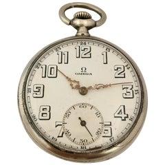 Vintage 1930s Omega Silver Pocket Watch