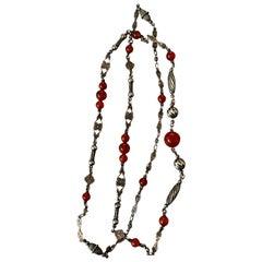 Vintage 1930's Peruzzi-Style Carnelian Bead Silver Necklace