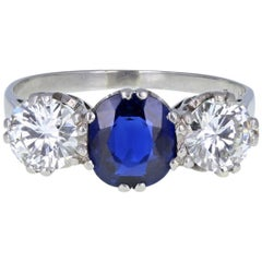Vintage 1930s Platinum Blue Sapphire Diamond Three-Stone Trilogy Engagement Ring