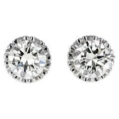 Vintage 1930s Platinum Brilliant Cut Diamond 6.00 Carat Diamond Stud Earrings