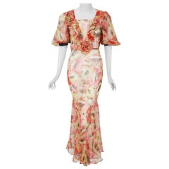 Vintage 1930's Poppies Floral Garden Sheer Chiffon Puff Sleeve Bias-Cut Gown