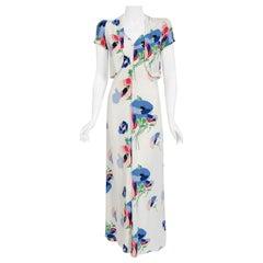 Vintage 1930's Poppy Floral Print White Rayon Bias-Cut Dress & Bolero Jacket
