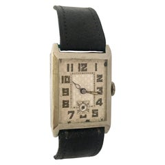 Vintage 1930s Pure Nickel Rectangular Mechanical Watch