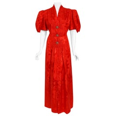 Vintage 1930's Ruby-Red Floral Print Silk Puff-Sleeve Belted Maxi Dressing Gown