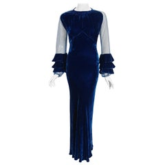 Vintage 1930's Sapphire Blue Silk-Velvet Sheer Ruffle Sleeves Bias-Cut Deco Gown