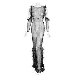 Vintage 1930's Sheer Black Lace Cut-Out Long Sleeve Bias-Cut Backless Gown