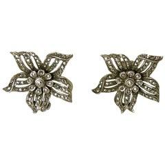 Vintage 1930's Signed Germany Sterling Marcasites Floral Earrings