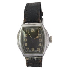 Vintage 1930s Silver Plated Black Dial Swiss Mechanical Watch