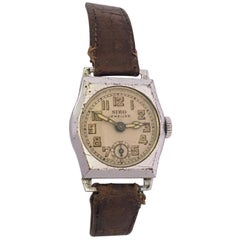 Vintage 1930s Silver Plated Ladies Swiss Mechanical Watch