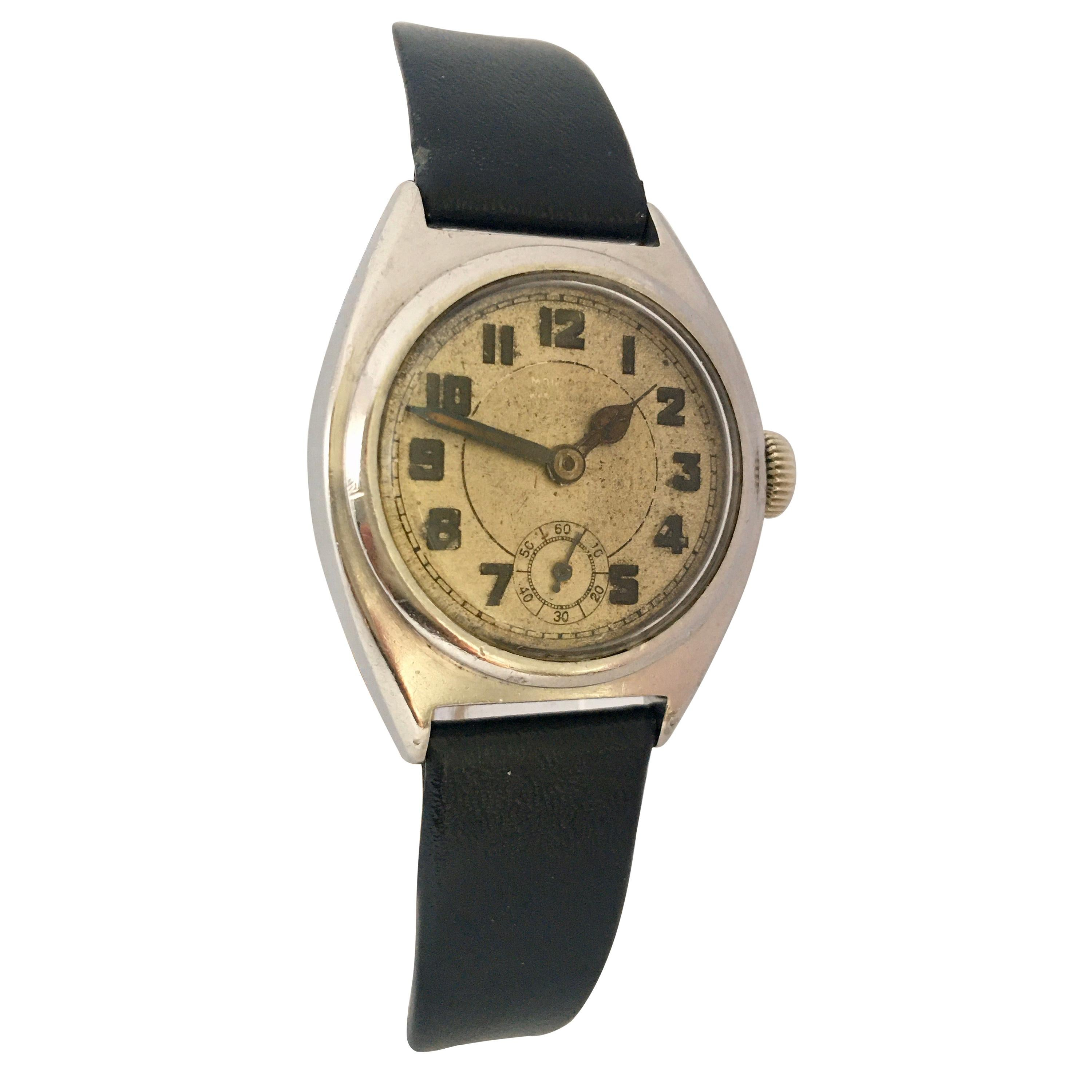 Vintage 1930s Stainless Steel Mechanical Watch