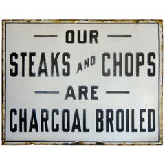 Vintage 1930s Steakhouse Restaurant Diner Porcelain Advertising Display Sign