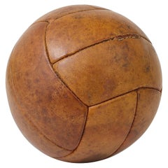 Vintage 1930s Tan Leather Medicine Ball from a Gym, Czech Republic, 1930s