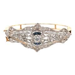 Vintage 1930's White Gold and Yellow Gold Diamond Bangle Bracelet