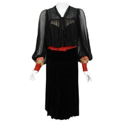 Vintage 1935 House of Worth Haute-Couture Beaded Velvet & Silk Illusion Dress