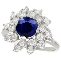 1.94 Carat Sapphire and Diamond Platinum Cocktail Ring