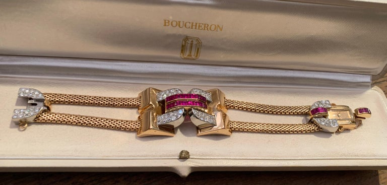 Vintage 1940 Boucheron Diamonds Ruby 18 Karat and Platinum Secret Wristwatch For Sale 4