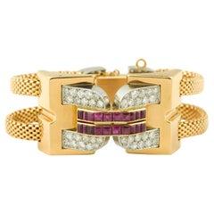 Vintage 1940 Boucheron Diamonds Ruby 18 Karat and Platinum Secret Wristwatch