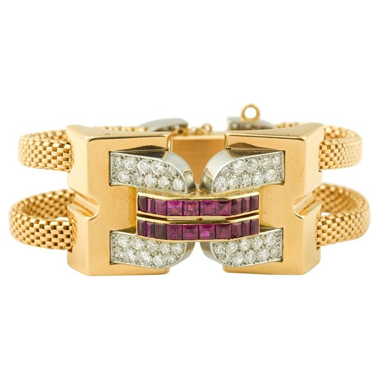 Vintage 1940 Boucheron Diamonds Ruby 18 Karat and Platinum Secret Wristwatch For Sale