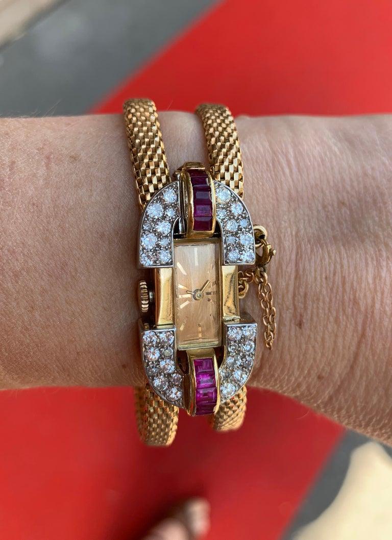 Women's Vintage 1940 Boucheron Diamonds Ruby 18 Karat and Platinum Secret Wristwatch For Sale