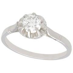 Vintage 1940s 0.50 Carat Diamond and Platinum Solitaire Ring