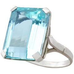 Vintage 1940s 10.72 Carat Aquamarine and White Gold Dress Ring