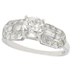Vintage 1940s 1.20 Carat Diamond and Platinum Cocktail Ring