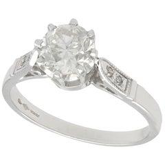 Vintage 1940s 1.25 Carat Diamond and Platinum Solitaire Engagement Ring