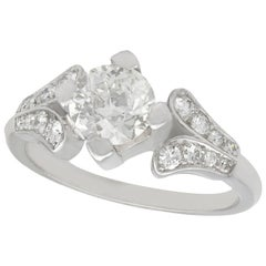 Vintage 1940s 1.29 Carat Diamond and Platinum Solitaire Ring