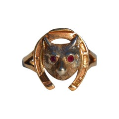 Vintage 1940s 14 Karat Gold Ruby Fox Horseshoe Ring