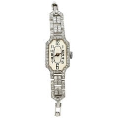 Vintage 1940s 1.45 Carat Diamond and Platinum Ladies Cocktail Watch