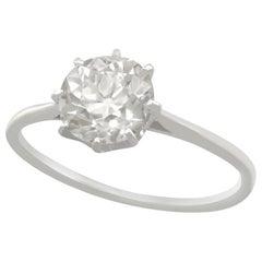 Vintage 1940s 1.55 Carat Diamond and Platinum Solitaire Engagement Ring