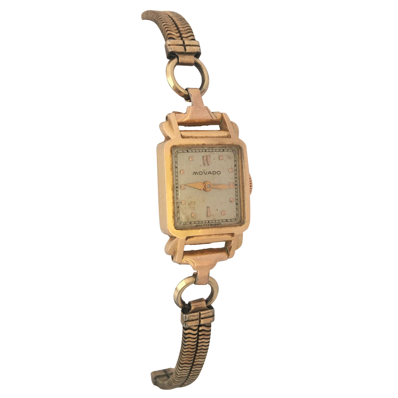 Vintage 1940s 18 Karat Gold Movado Mechanical Ladies Cocktail Watch