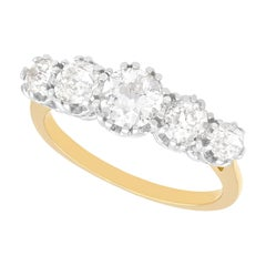 Vintage 1940s 1.92 Carat Diamond and Yellow Gold Five Stone Ring
