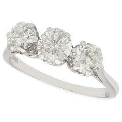 Vintage 1940s 1.93 Carat Diamond and White Gold Trilogy Ring