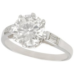 Vintage 1940s 2.10 Carat Diamond and White Gold Solitaire Ring