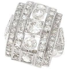 Vintage 1940s 2.66 Carat Diamond and Platinum Cocktail Ring