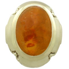 Vintage 1940s 4.61 Carat Amber and Yellow Gold Ring