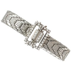 Vintage 1940s Art Deco 1.20 Carat Diamonds Gold Bracelet