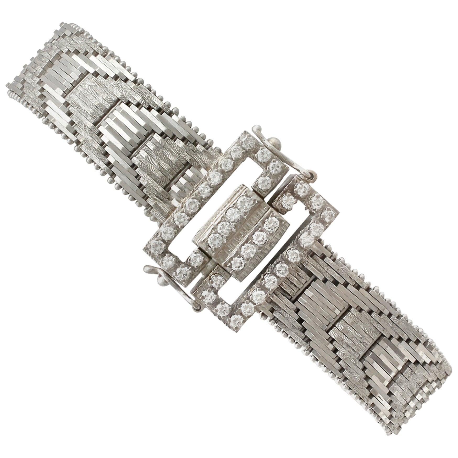 Vintage 1940s Art Deco 1.20 Carat Diamonds Gold Bracelet