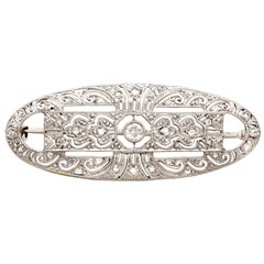 Vintage 1940s Art Deco Style Diamond and White Gold Brooch