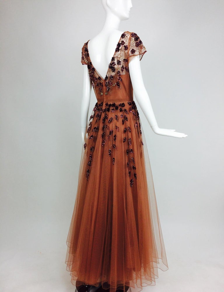 Vintage 1940s Beaded and Sequined Tulle Evening Gown In Excellent Condition For Sale In West Palm Beach, FL