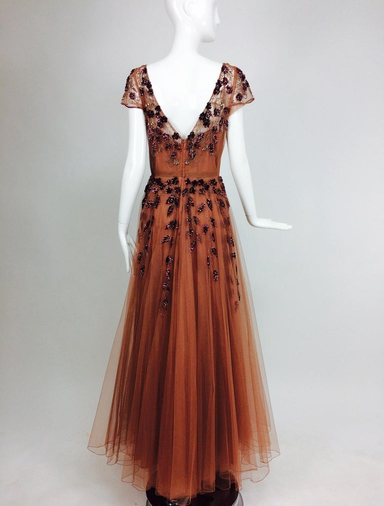 Women's Vintage 1940s Beaded and Sequined Tulle Evening Gown For Sale