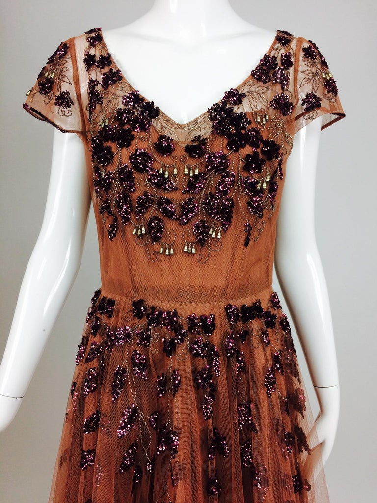 Vintage 1940s Beaded and Sequined Tulle Evening Gown For Sale 1