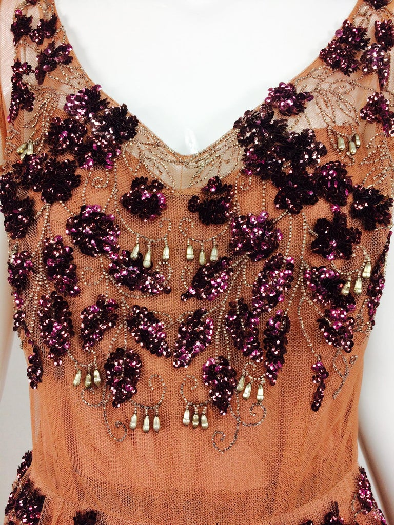 Vintage 1940s Beaded and Sequined Tulle Evening Gown For Sale 2
