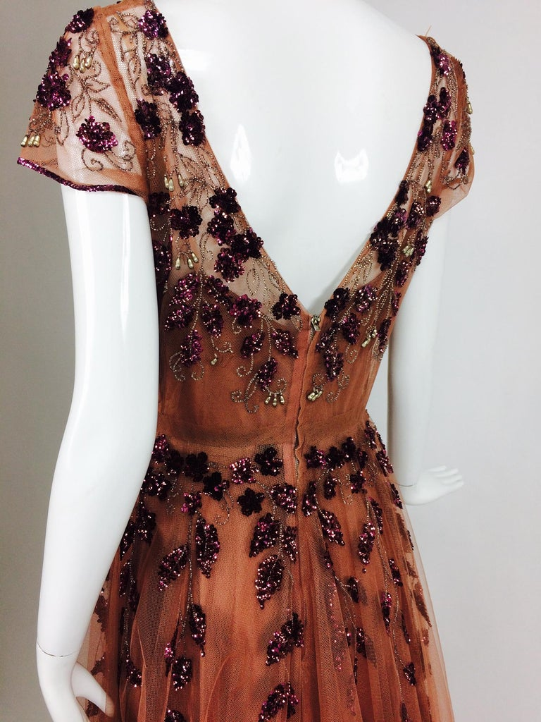 Vintage 1940s Beaded and Sequined Tulle Evening Gown For Sale 5
